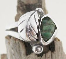 Vintage Malachite Ring Sterling Silver American Jewellery Jewelry 1970s 70s Sz R