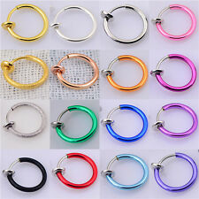 2×Fake Clip On Spring Nose Hoop Ring Ear Septum Lip Eyebrow Earrings Piercing