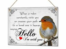 Robin Sympathy Loved One In Heaven Metal Hand Made Plaque Sign Present Gift