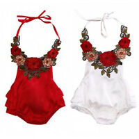 Newborn Baby Toddler Girl Floral Romper Bodysuit Jumpsuit Sunsuit Clothes Outfit