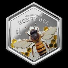 HONEY BEE Hexagonal Shape 1 Oz Silver Coin 1$ New Zealand 2016