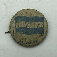 "Vintage El Salvador Flag 7/8"" Button Pin Pinback Antique Green Duck  F1"