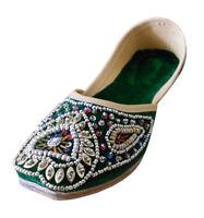 Women Shoes Mojari Handmade Loafers Leather Green Jutties UK 3.5-6.5 EU 36-40