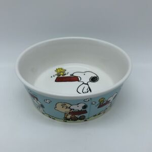 NEW Peanuts Snoopy with Charlie Brown Round Pet Bowl Stoneware Woodstock Blue