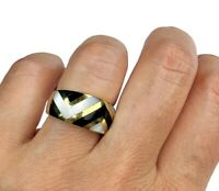 Asch Grossbardt 14K Yellow Gold Black Onyx White MOP Pearl Chevron Inlay Ring