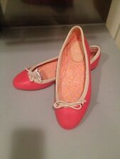 Joie Lighthouse Ballet Flats Soft Leather Canvas Pink Coral 38.5/8.5-9 New $165
