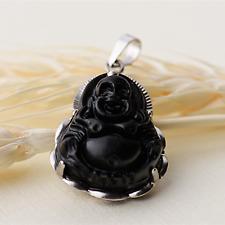 Big 925 Sterling Silver Obsidian Black Gemstone Yoga Buddha Necklace Pendant