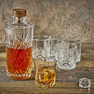 Glass Whiskey 0.9L Decanter And 6 Table Drinking Glasses Tumblers Drink Set Gift