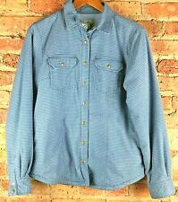 LL Bean Mens Small Insulated Lined Flannel Shirt Blue Plaid