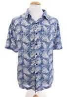 Nat Nast Blue Silk Bd Hawaiian Button Up Front Camp Shirt Bowling Men Sz XXL 2XL