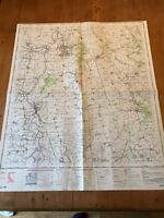 """HUGE 1968 RAF CROWN COPYRIGHT """"SCUNTHORPE"""" (35.5"""" x 29.5"""") CHART MAP"""
