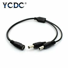 CCTV Cameras LED Light DC Power Splitter Cable 5.5x2.1mm 1 Female to 2 Male Plug