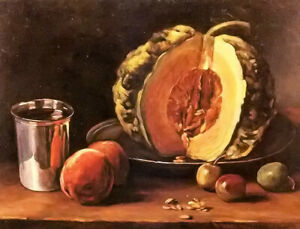 Oil painting francois bonvin -  still life with a pumpkin, peaches and a silver