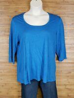 Eileen Fisher Blue 100% Linen Shirt Blouse Womens Size Large L EUC