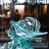 Crystal Seashell Conch Sculpture Ocean Wedding Home Decor Hand Blown Glass Art
