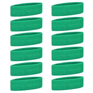 """Lot of 12 GOGO Adult Youth Sports Headband Thick Sweatband Pack 7"""" L, 12 Colors"""