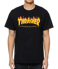 Thrasher FLAME Black Orange Yellow Graphic Logo Standard Fit S/S Men's T-Shirt