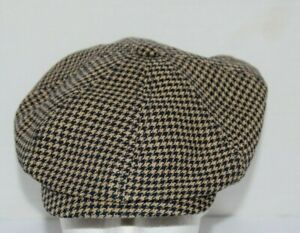 Stetson Houndstooth Cabbie Newsboy Linen Hat NWT New 55cm Small Made In Germany