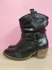 STEVE MADDEN BLACK BRAIDED LEATHER STUDDED BOOTS BOOTIES WESTERN MOTORCYCLE SZ 9