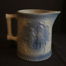 Antique Blue and White Stoneware Pitcher Boy and Girl with Flowers