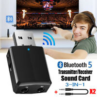 Dongle USB Transmitter 3 in 1 Bluetooth 5.0 Adapter Audio Receiver Sound Card