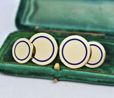 Antique 14ct gold Tiffany & Co. Cufflinks with Royal Blue Enamel 17.67g #R327