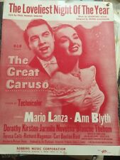 """""""The Loveliest Night Of The Year"""" By: Paul Francis Webster 1951 SHEET MUSIC"""