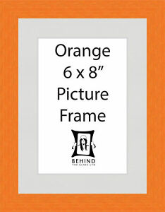 Handmade Orange Wooden Picture Frame with Mount and Back Stand - 6 x 8''