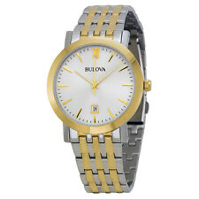 Bulova Men's 98B221 Classic Quartz Gray Dial Two-Tone Case 39mm Bracelet Watch