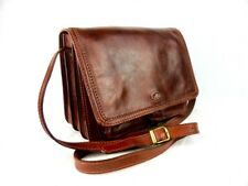 THE BRIDGE classic brown leather satchel messenger crossbody bag