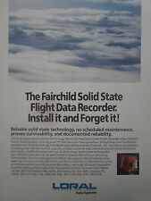 6/1990 PUB LORAL FAIRCHILD SOLID STATE FLIGHT DATA RECORDER ORIGINAL AD