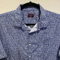 UNTUCKit Blue White Floral Print Short Sleeve Button Shirt Size 3XL 100% Cotton