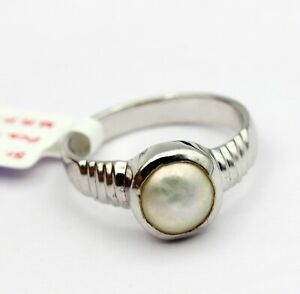 3.33 ct Ideal Fine Jewelry Natural Pearl Gemstone Ring Sterling Silver 925 US 5