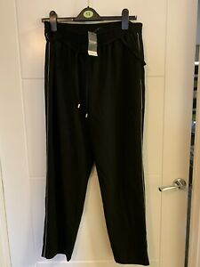 George Bnwt Black Casual Trousers White Side Stripe Size 14