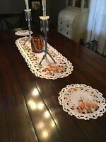 Autumn Pumpkin Patch Table Doily Set 2 Table Runner 3 L Round 2 Sm Round Fall