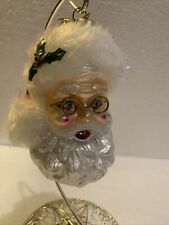 Kurt Adler 4.3/8� Santa Face Wire Glasses Blown Glass Christmas Ornament
