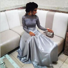78d52dd1df7 Sliver Lace and Satin Prom Evening Party Dress Celebrity Pageant Formal Gown