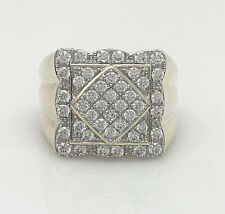 Men's 10K Large Yellow Gold Ring Micro Pave CZ Setting Size 10