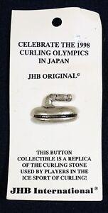 Vtg JHB International CARDED Novelty BUTTON 1998 Japan Olympics Curling Stone