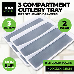 Home Master® 2PK Cutlery Tray 3 Section Non Slip Fits Standard Drawers