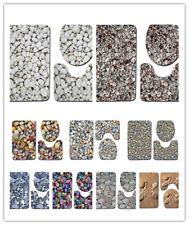 3 Piece Set Stone Pattern Bathroom Non-slip Mat Floor Soft Rug Toilet Lid Cover