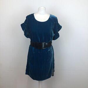 M&S Limited Collection Silk Blend Crushed Velvet Dress Top Belt Uk 12