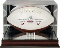New England Patriots SB LI Champs  Display Case With White Panel Football