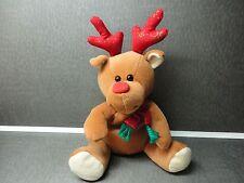 "CHRISTmas Beanie bag Reindeer pellets & soft plush stuffing animal 8"" tall"