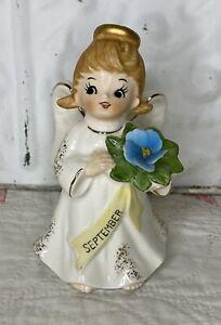 Vintage Lefton Birthday Angel September #1323  Ceramic Figurine Blue Flower