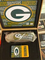 green bay packers NFL football team logo knife and lighter set nice gift box