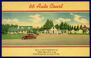 66 Auto Court City Route 66 - 8730 Watson Road St Louis Missouri mo postcard #2