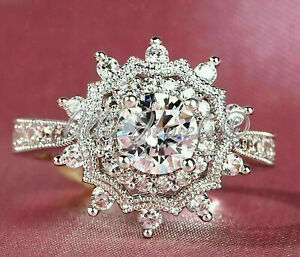 3.27ct Round cut Cluster Halo Diamond Engagement Ring Band Solid 14K White Gold