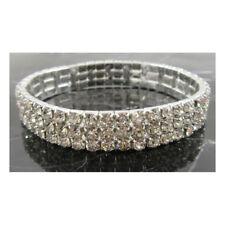 3 ROW -  Bling Bracelet Wedding Bridal Silver Prom Formal Crystal Diamante J330