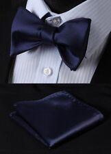 Pure Navy Blue Solid Bowtie Silk Men Self Bow Tie Handkerchief set#BL21V